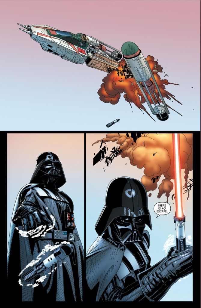darth vader shots down a y-wing with a lightsaber