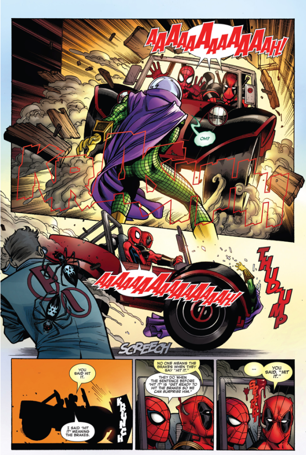 deadpool takes out mysterio with the deadbuggy