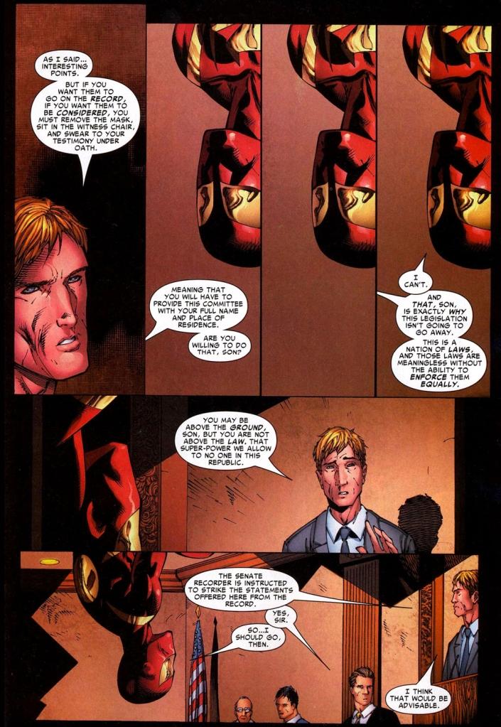 spider-man argues against the super-human registration act