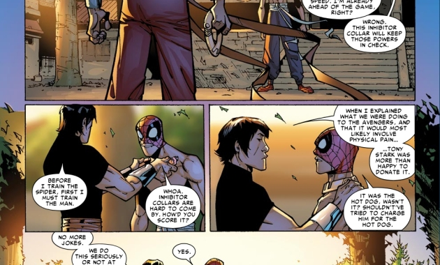 spider-man learns kung fu from shang-chi
