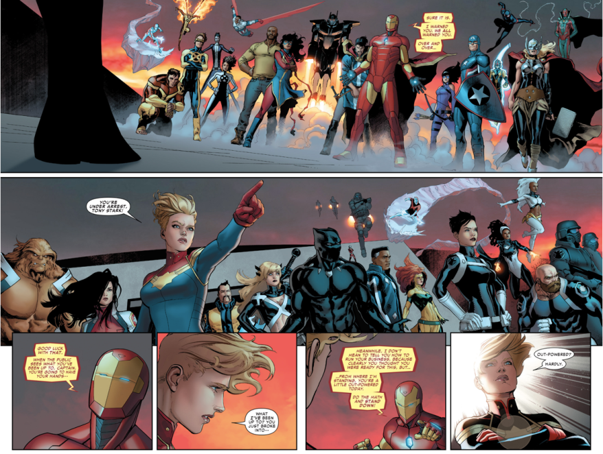 Iron Man And Captain Marvel's Teams (Civil War II)