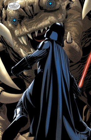 darth vader faces off with a rancor
