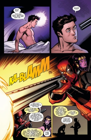 deadpool shoots peter parker with a shotgun 2