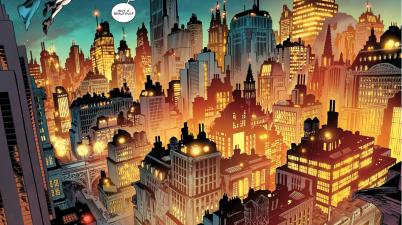 Gotham Girl Flies Over Gotham City