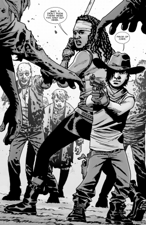 carl-grimes-and-michonne-vs-walkers