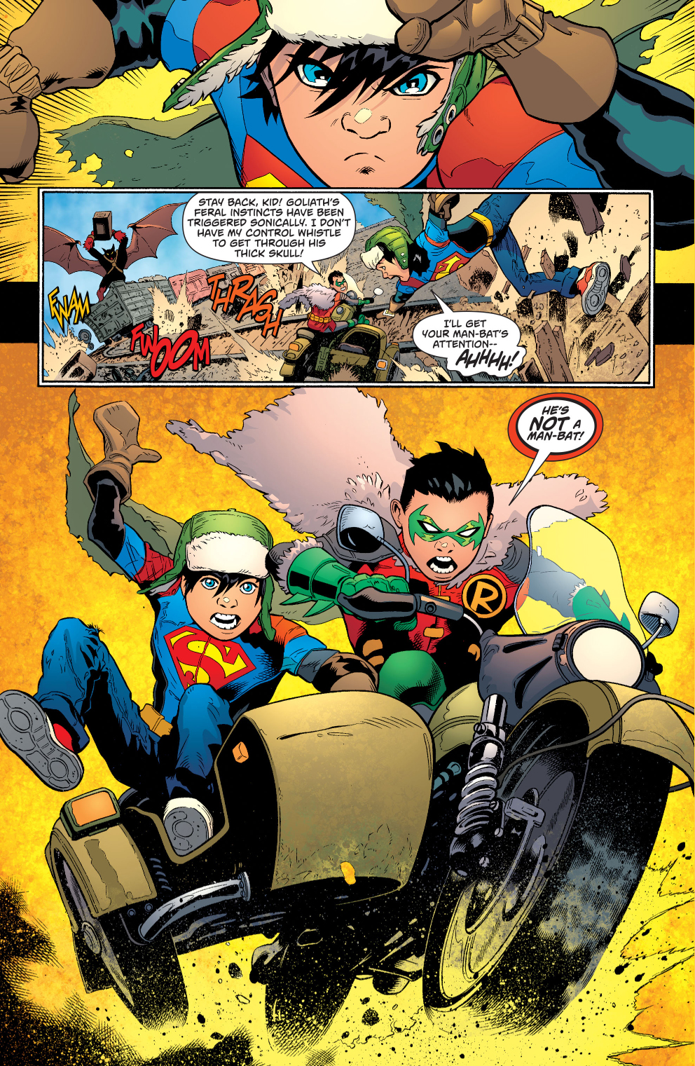 robin and superboy vs goliath