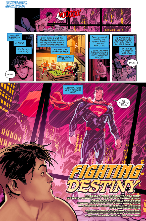 Superman (New Earth) Befriends Nightwing (Prime Earth)