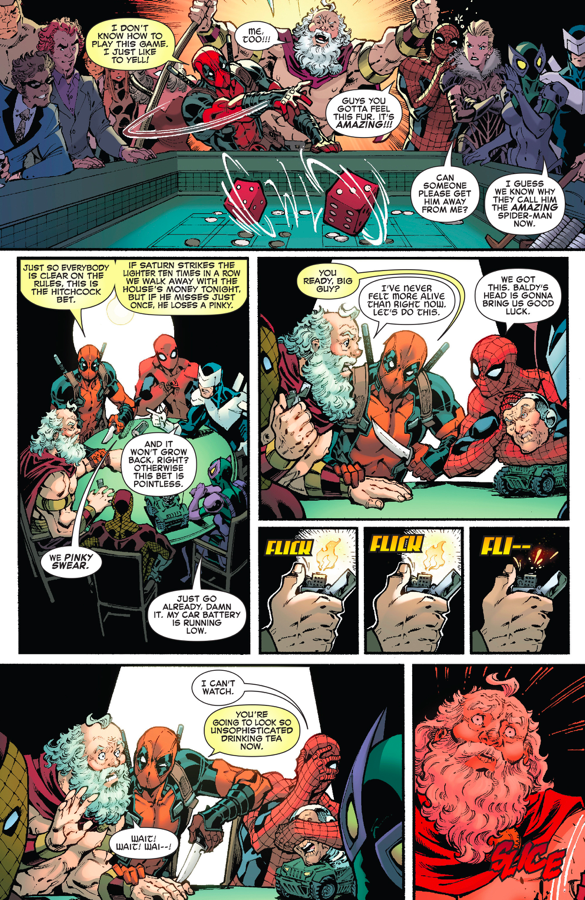 Spiderman Christmas.Spider Man And Deadpool Spends Christmas With Saturn