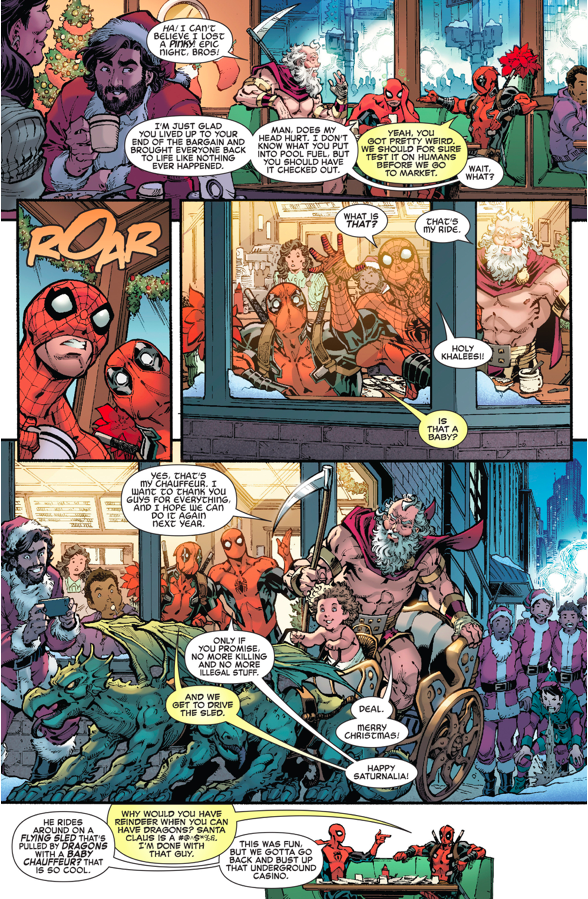 Spider-Man And Deadpool Spends Christmas With Saturn