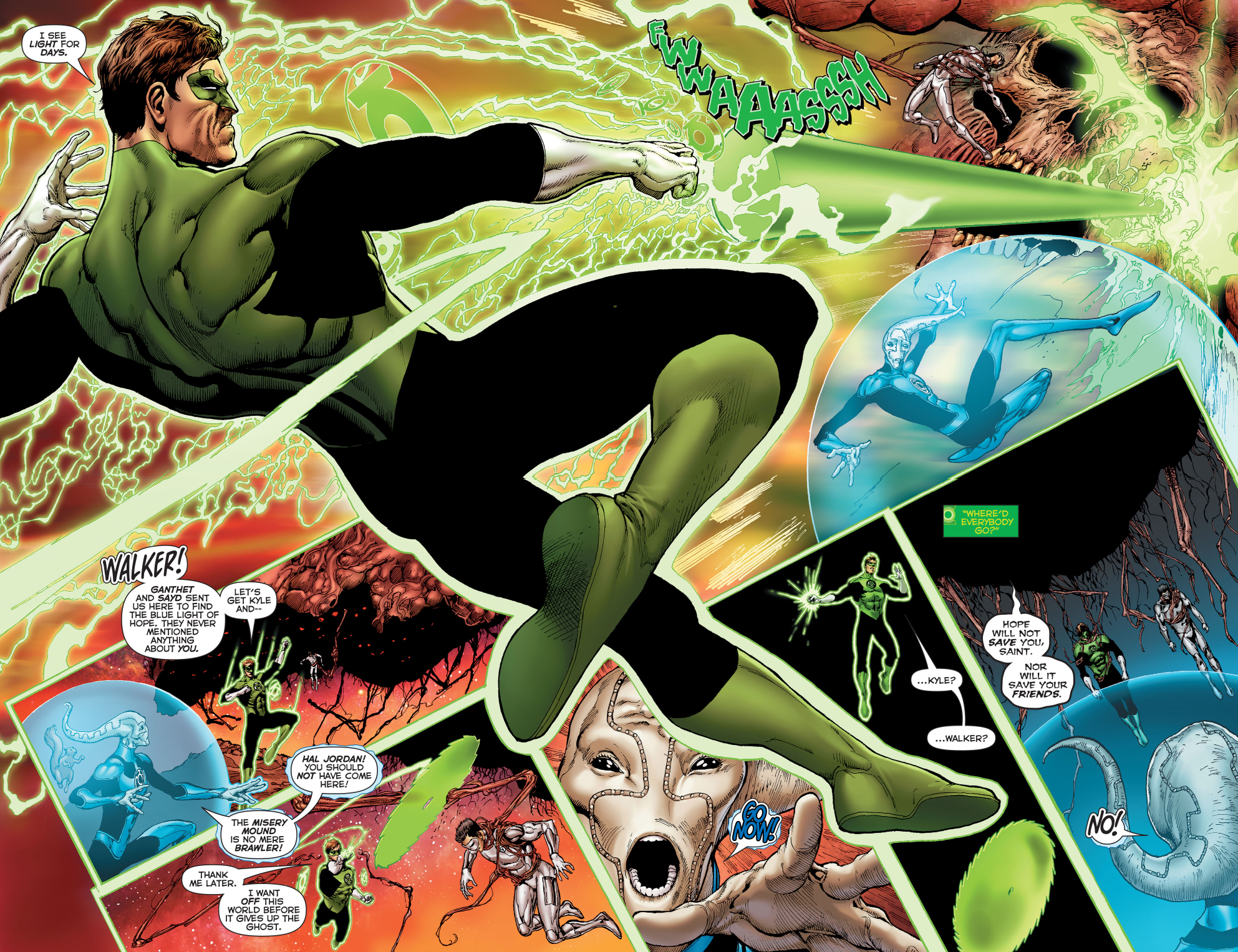 green white and blue lanterns vs the misery mound