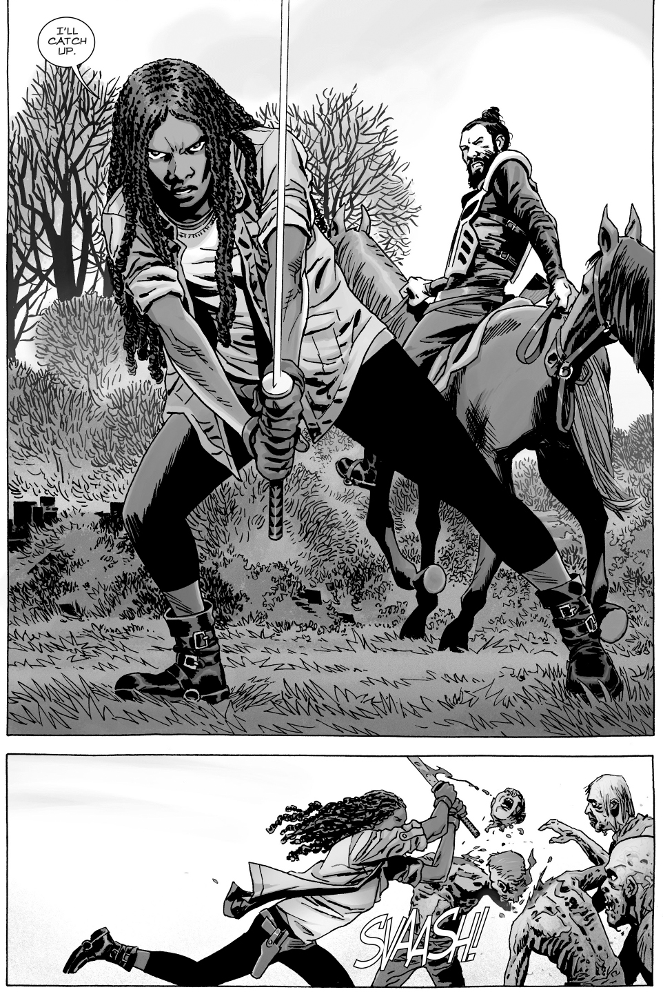 michonne and jesus vs the whisperers army comicnewbies