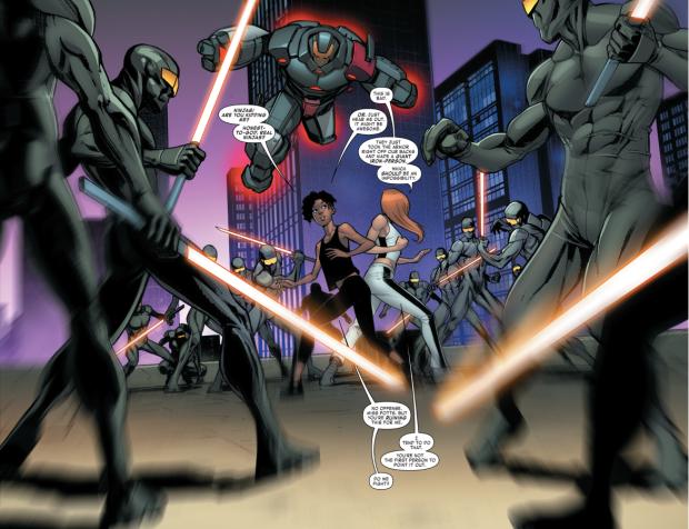 Pepper Potts VS Techno Golem And Cyber Ninjas