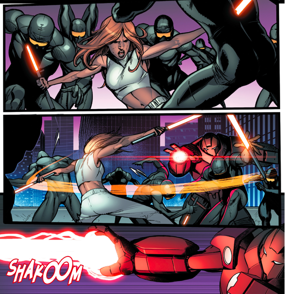 Pepper Potts VS Techno Golem And Cyber Ninjas