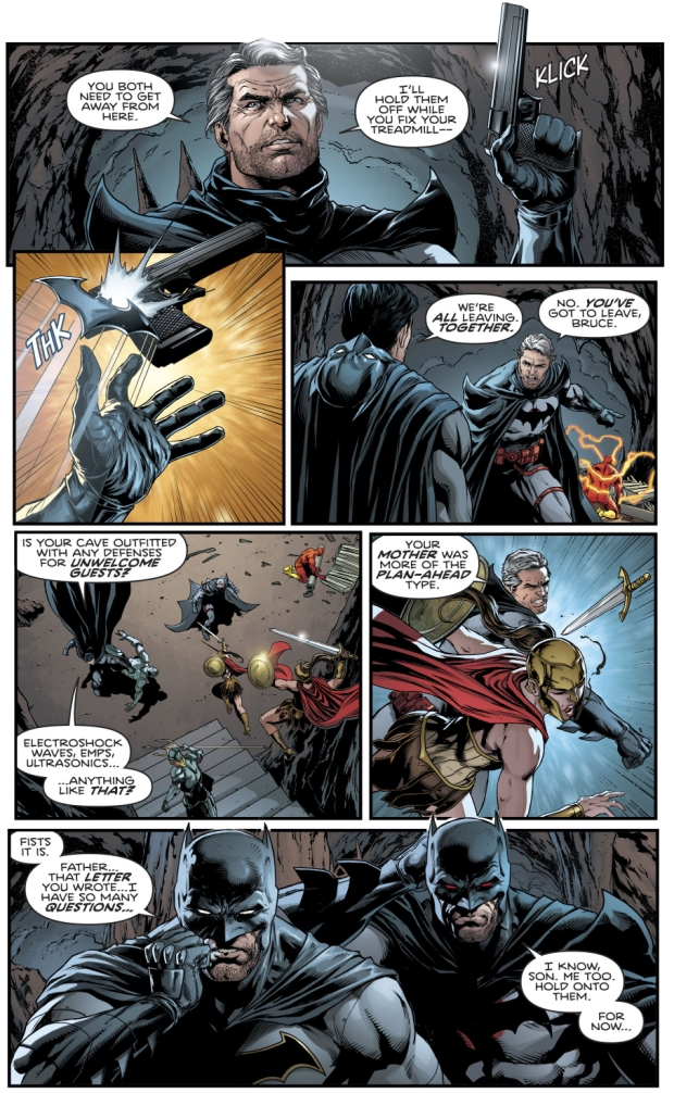 Batman And Flashpoint Batman Fighting Together