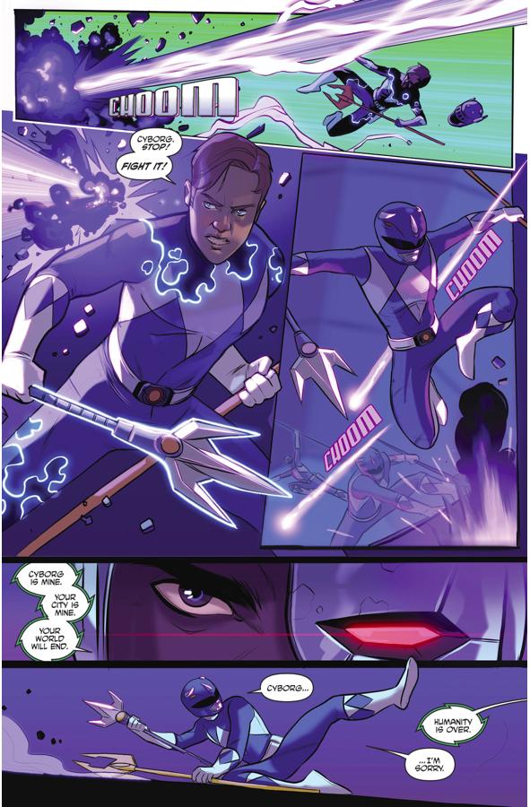 The Blue Ranger Impales Cyborg