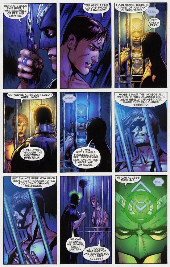 Hal Jordan Charges His Ring Using An Indigo Lantern