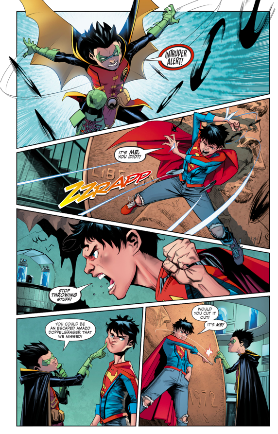 Robin VS Superboy In The Batcave (Rebirth)
