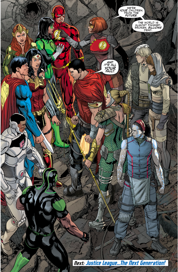 The Justice League Meets Their Kids From The Future (Rebirth)