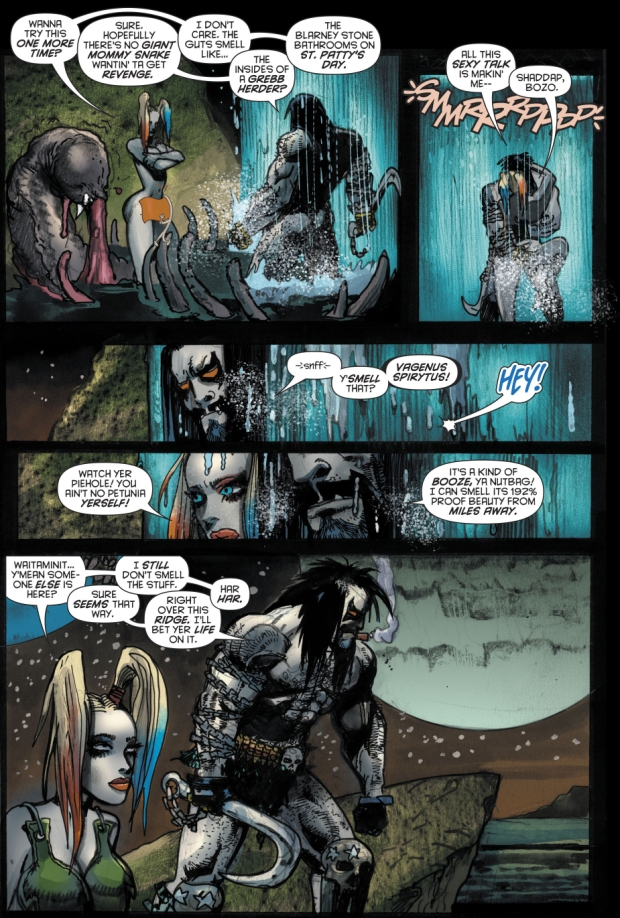 Harley Quinn And Lobo VS A Giant Snake