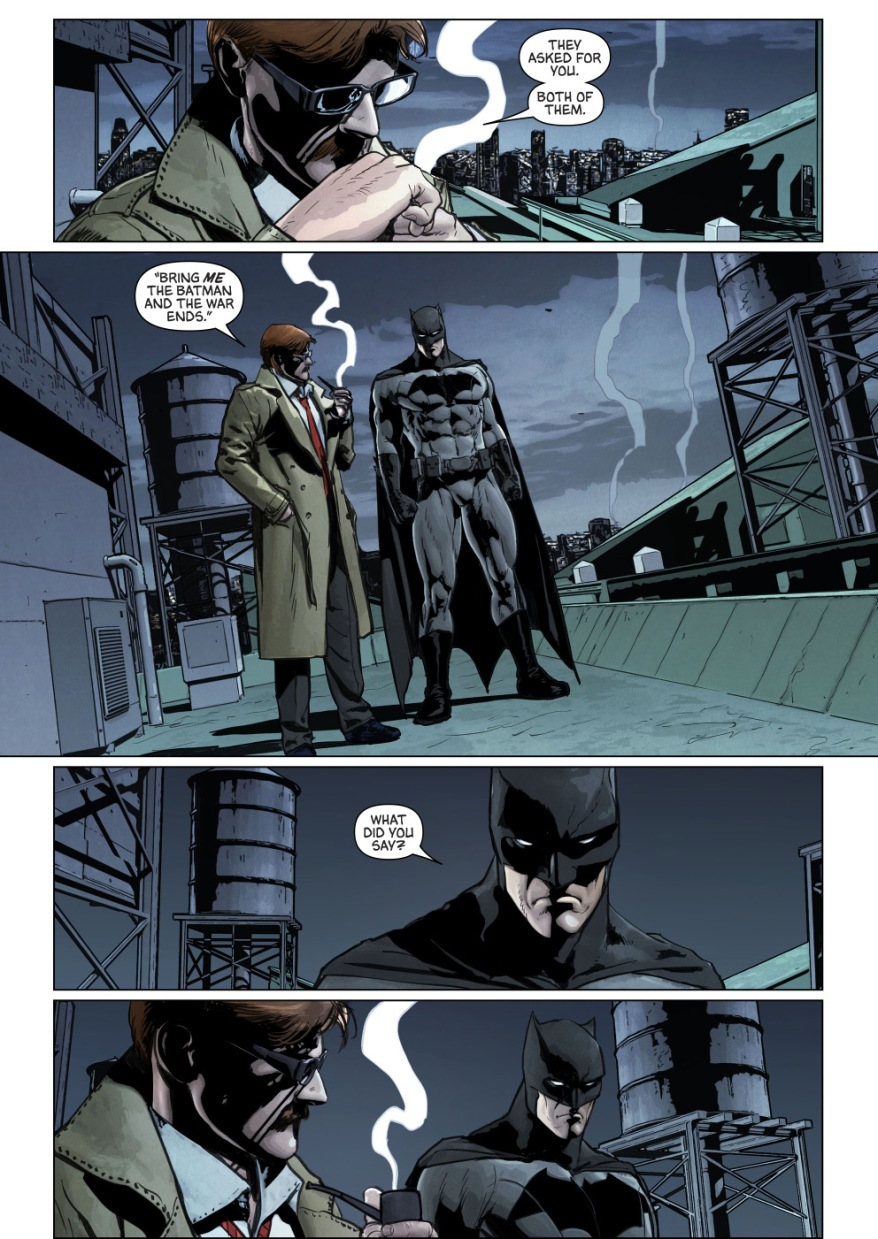 Jim Gordon Parleys With The Joker And The Riddler