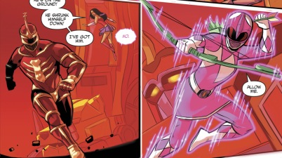 The Pink Ranger Using A Boxing Glove Arrow