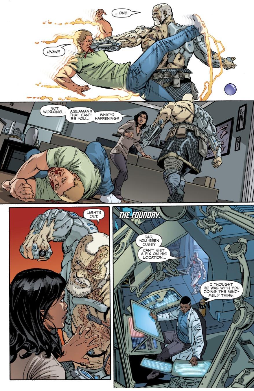Cyborg-Aquaman Takes Down The Flash And Green Lantern