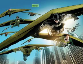 Batman And The Riddler On Kite-Man's Kites