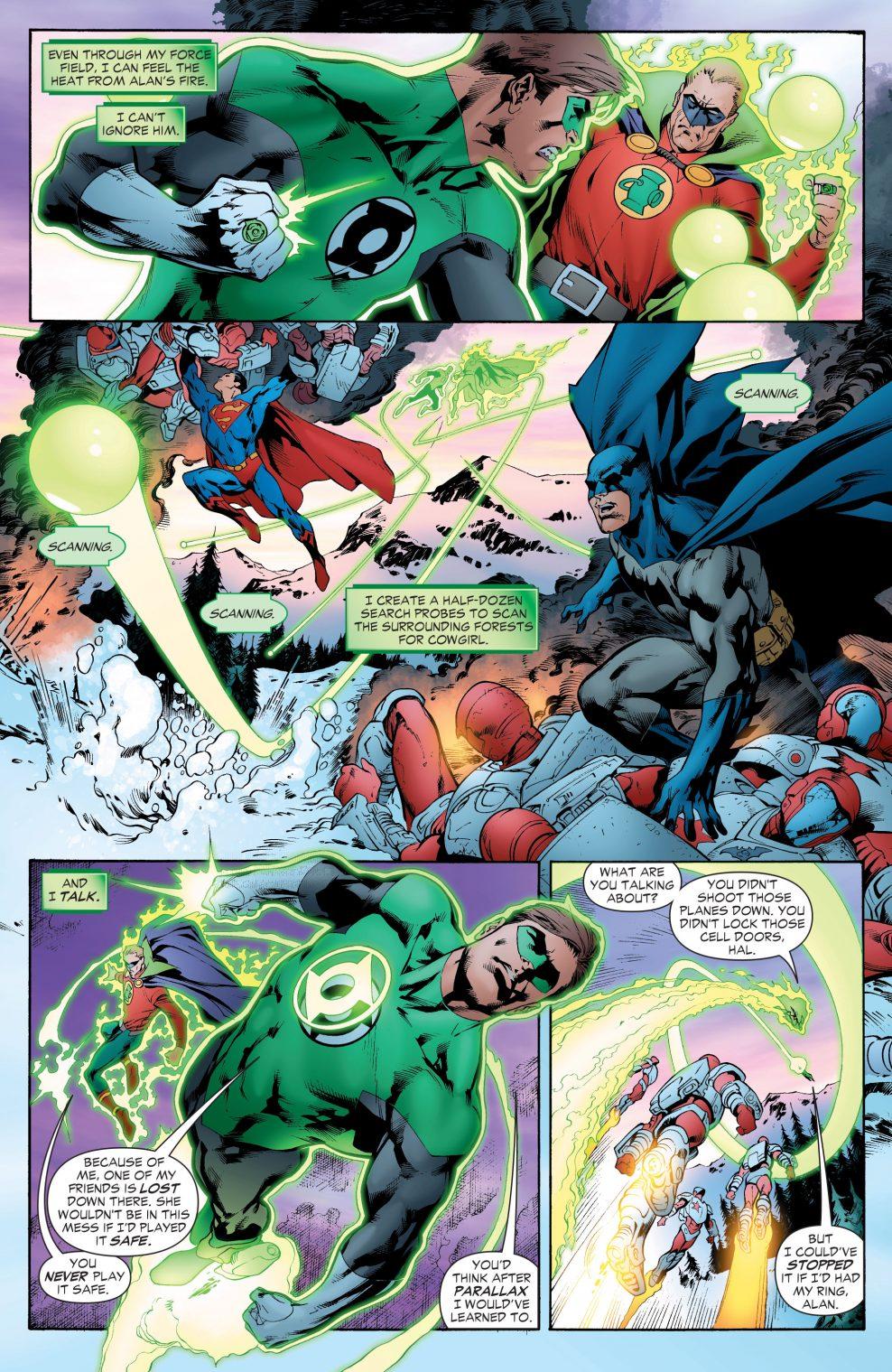 Green Lantern Hal Jordan And Alan Scott Vs The Rocket Red
