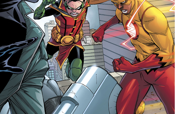 Robin And Kid Flash VS Onomatopoeia (Rebirth)