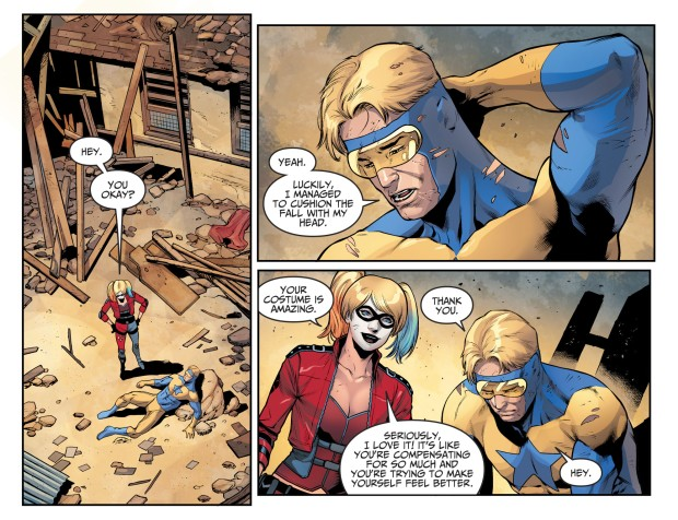 Harley Quinn Meets Booster Gold (Injustice II)