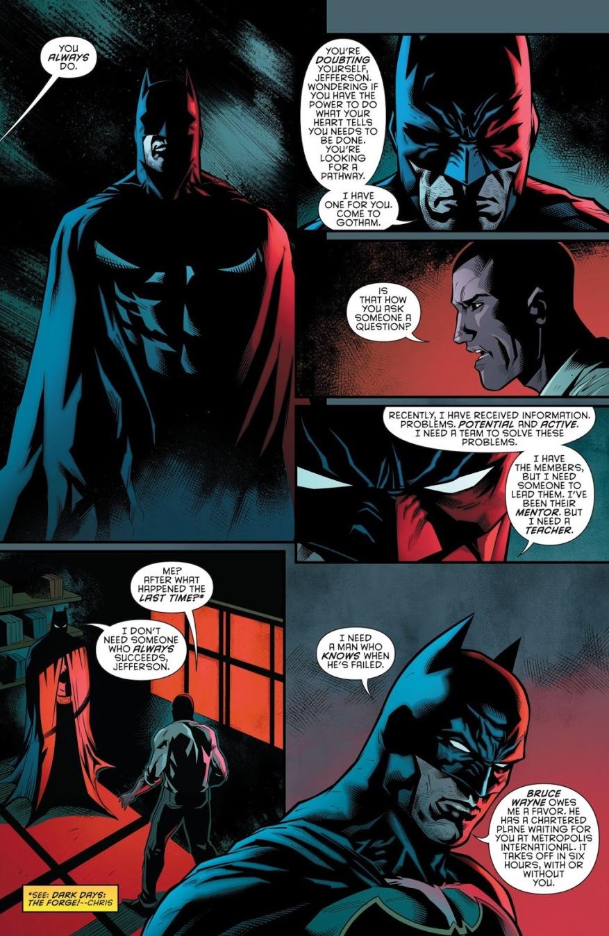 Batman Recruits Black Lightning (Rebirth)