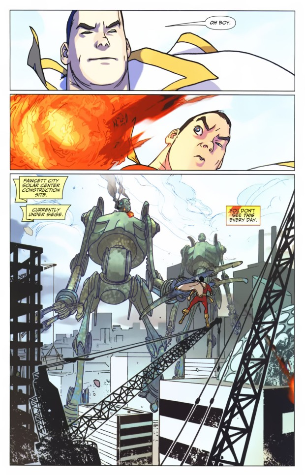Captain Marvel VS  2 Giant Fire-Breathing Robots