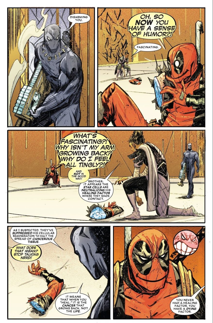 Black Panther Cauterizes Deadpool's Arm