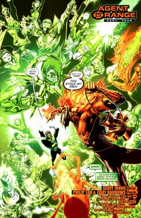 Hal Jordan With Green And Blue Rings VS Larfleeze