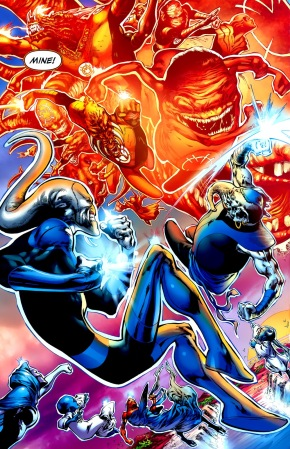 Orange Lantern Corps VS Blue Lantern Corps (Green Lantern Vol. 4 #42)