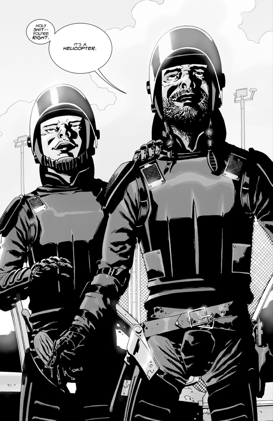 Rick Grimes And Glenn Testing Their Riot Gear