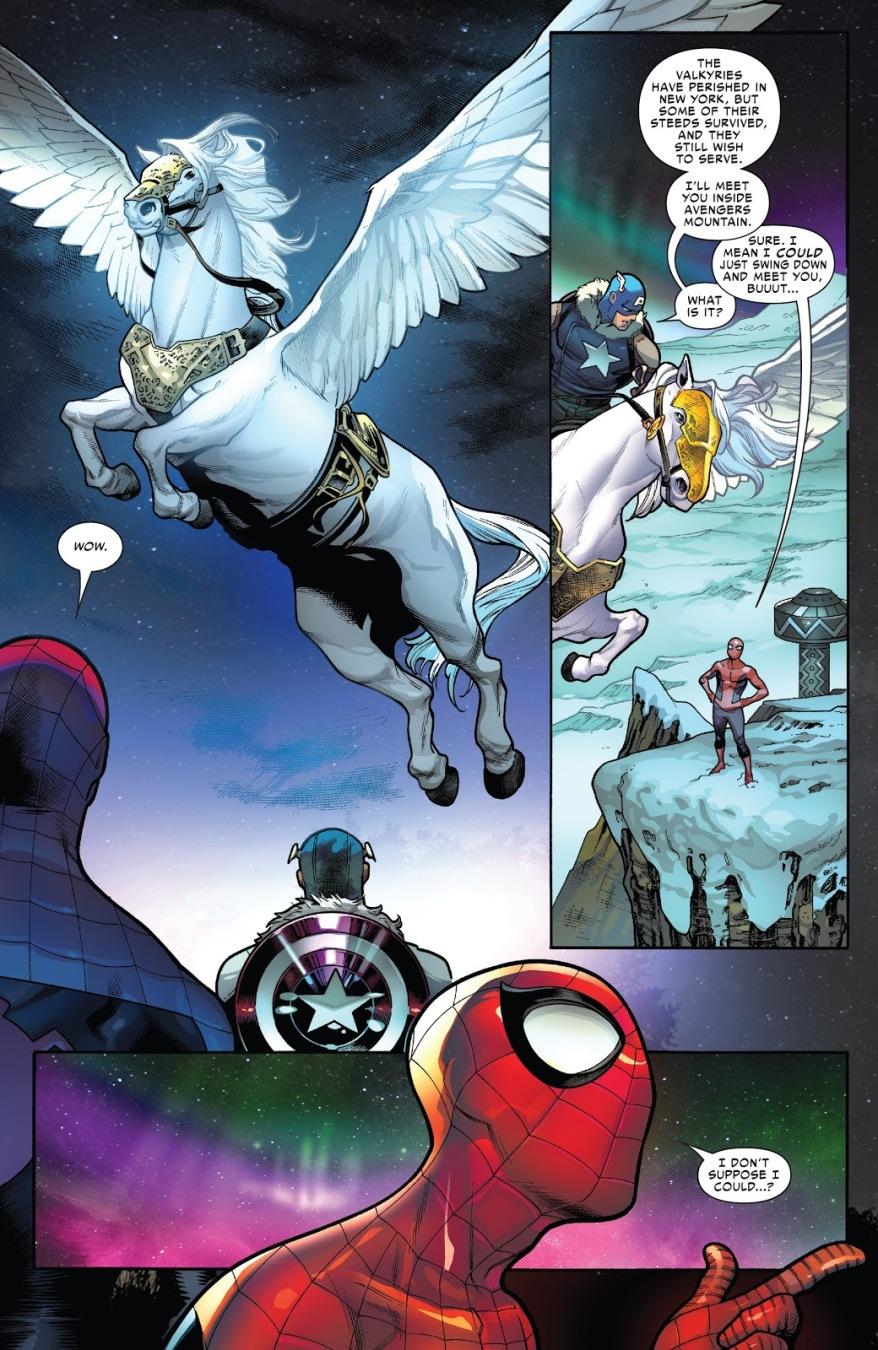 Spider-Man And Captain America Riding Pegasus