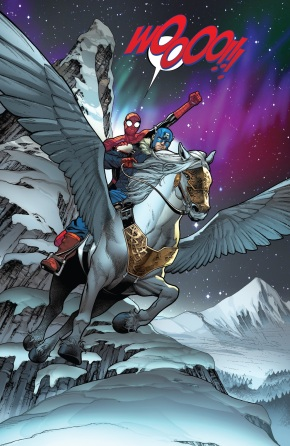 Spider-Man And Captain America Riding Pegasus